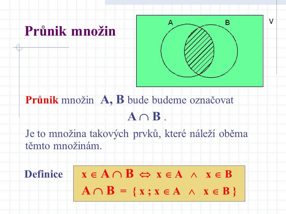 Průnik množin Průnik množin A, B bude budeme označovat A  B. Je to množina takových prvků, které náleží oběma těmto množinám. Definice x  A  B  x