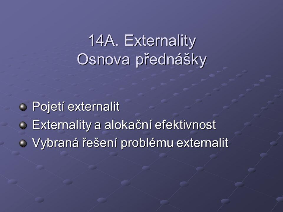 14A. Externality Osnova přednášky Pojetí externalit Externality a alokační efektivnost Vybraná řešení problému externalit