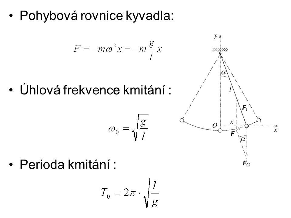 Pohybová rovnice kyvadla: Úhlová frekvence kmitání : Perioda kmitání :