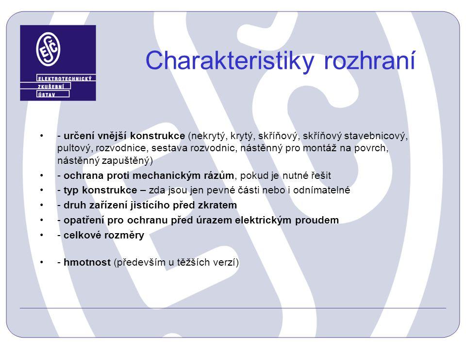 Charakteristiky rozhraní - určení vnější konstrukce (nekrytý, krytý, skříňový, skříňový stavebnicový, pultový, rozvodnice, sestava rozvodnic, nástěnný
