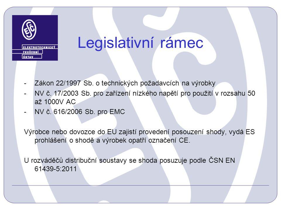 Legislativní rámec -Zákon 22/1997 Sb. o technických požadavcích na výrobky -NV č. 17/2003 Sb. pro zařízení nízkého napětí pro použití v rozsahu 50 až