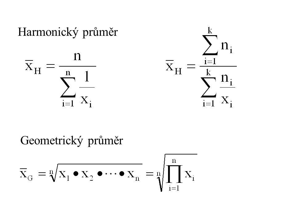 Harmonický průměr Geometrický průměr