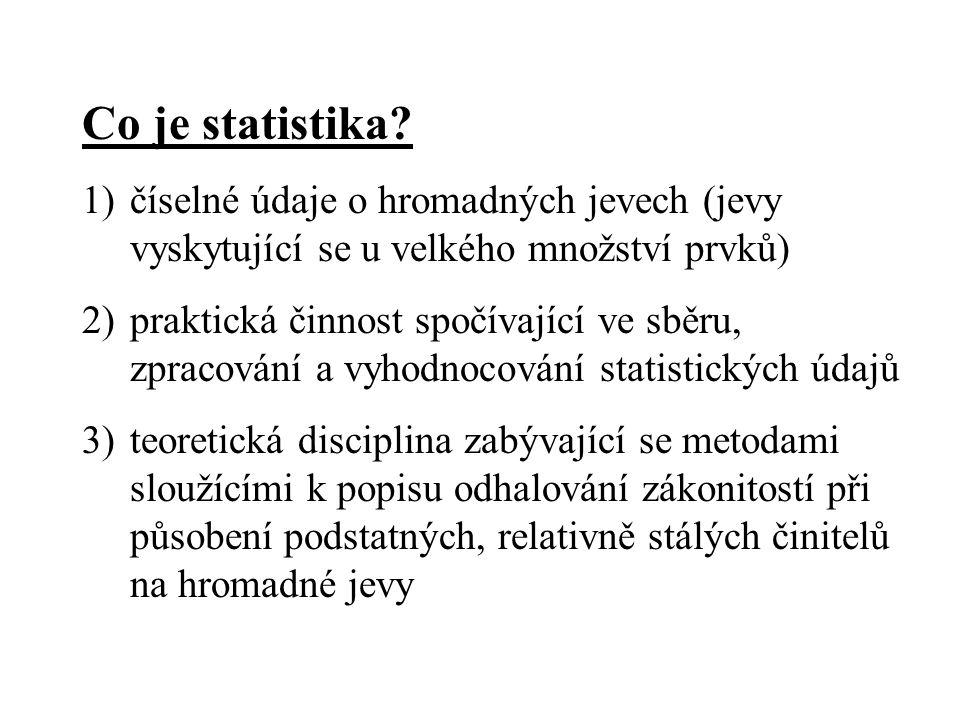 Statistická jednotka – elementární jednotka statistického pozorování (např.