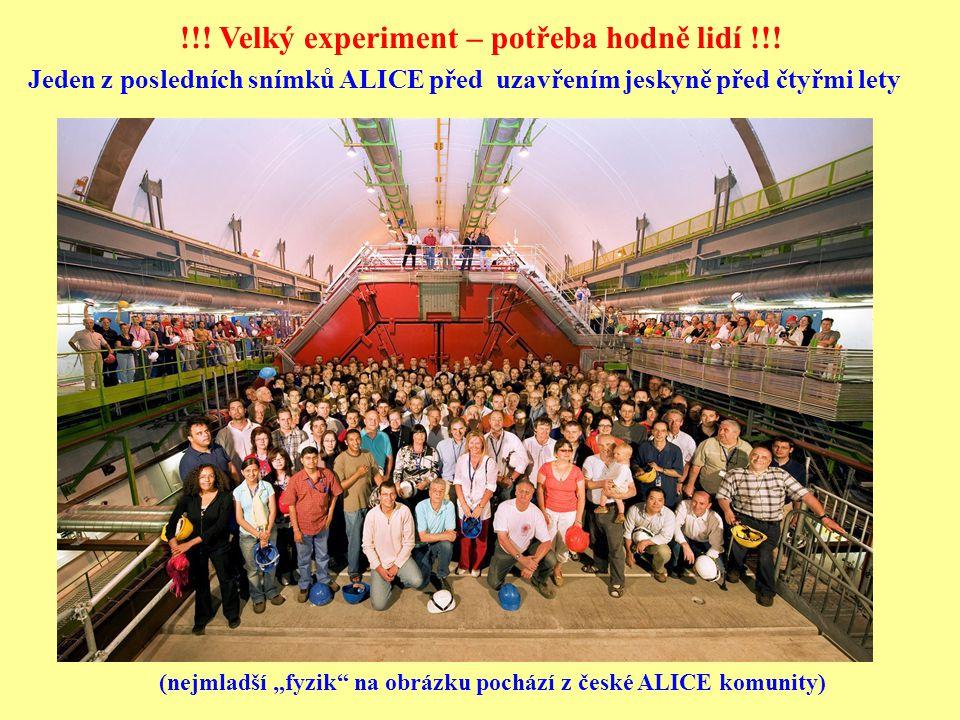 """Jeden z posledních snímků ALICE před uzavřením jeskyně před čtyřmi lety (nejmladší """"fyzik na obrázku pochází z české ALICE komunity) !!."""