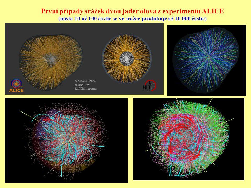 První případy srážek dvou jader olova z experimentu ALICE (místo 10 až 100 částic se ve srážce produkuje až 10 000 částic)