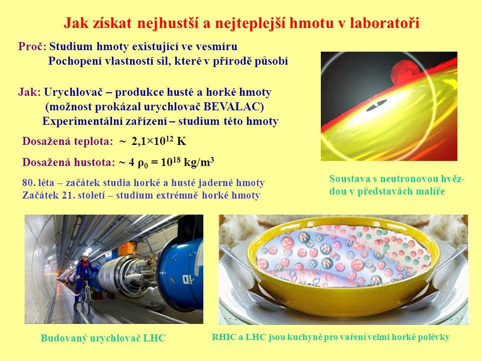 Budovaný urychlovač LHC Proč: Studium hmoty existující ve vesmíru Pochopení vlastností sil, které v přírodě působí Dosažená teplota: ~ 2,1×10 12 K Dosažená hustota: ~ 4 ρ 0 = 10 18 kg/m 3 Jak: Urychlovač – produkce husté a horké hmoty (možnost prokázal urychlovač BEVALAC) Experimentální zařízení – studium této hmoty Soustava s neutronovou hvěz- dou v představách malíře RHIC a LHC jsou kuchyně pro vaření velmi horké polévky 80.