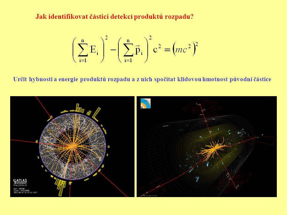 Jak identifikovat částici detekcí produktů rozpadu.
