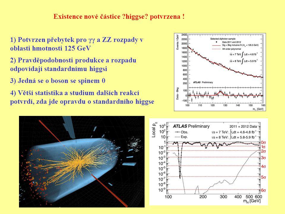 Existence nové částice higgse. potvrzena .