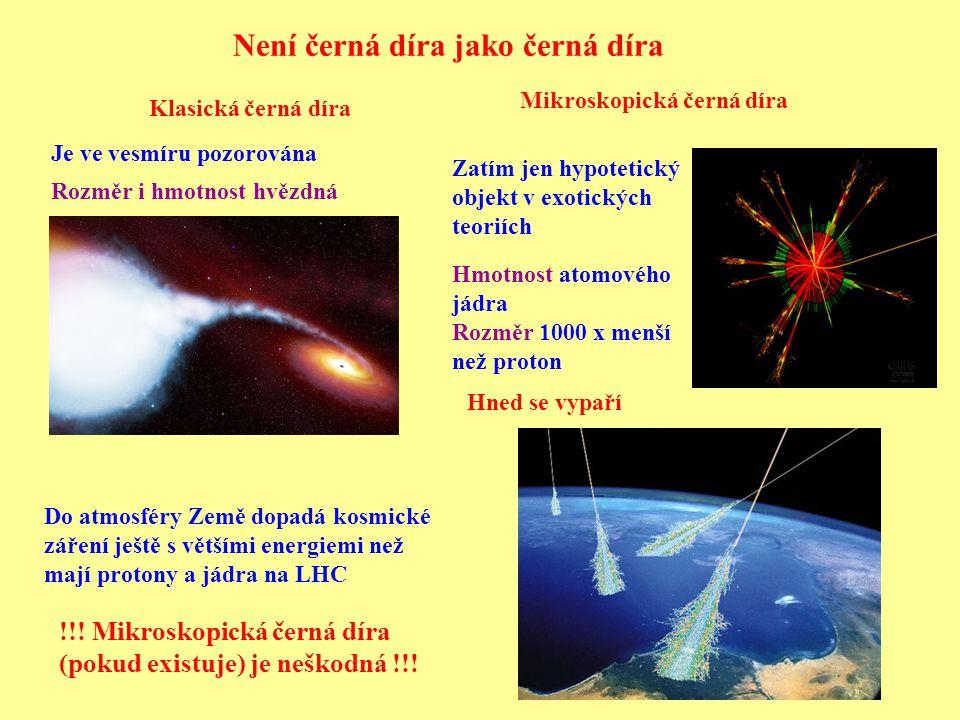 Není černá díra jako černá díra !!. Mikroskopická černá díra (pokud existuje) je neškodná !!.