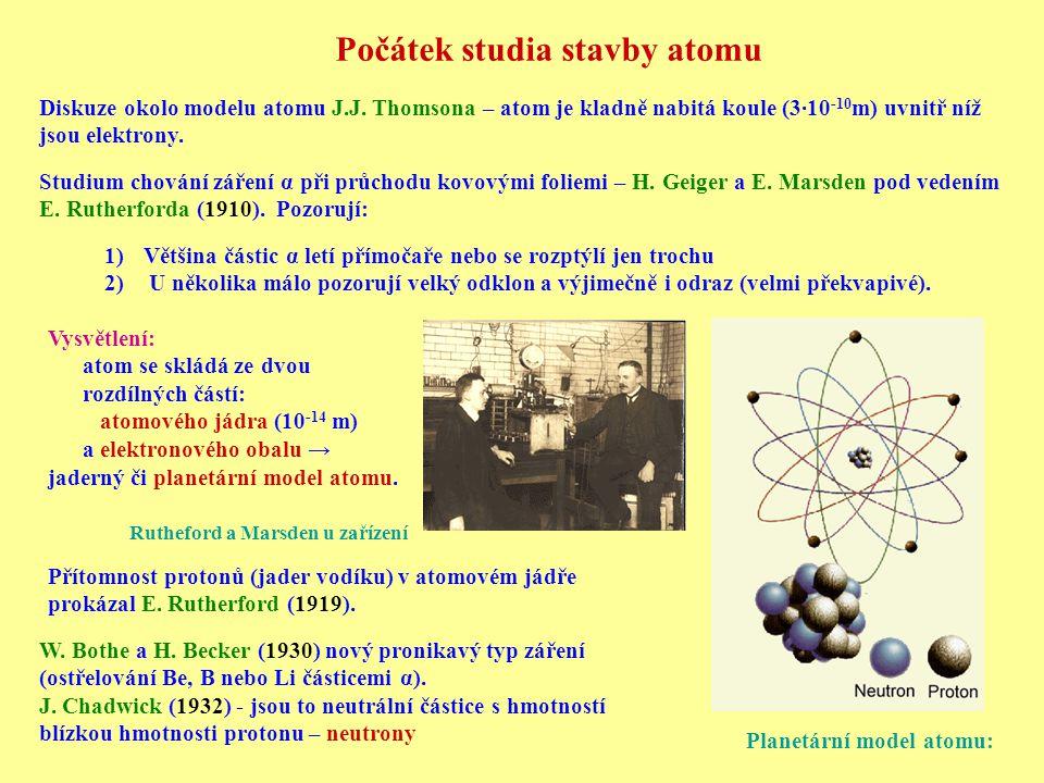 Počátek studia stavby atomu Diskuze okolo modelu atomu J.J.