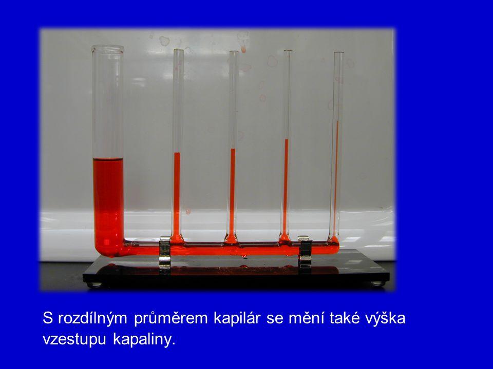 Výška výstupu: Hydrostatický tlak je stejný jako kapilární tlak Výška výstupu (poklesu) závisí na : 1) povrchovém napětí kapaliny 2) hustotě kapaliny 3) na poloměru kapiláry