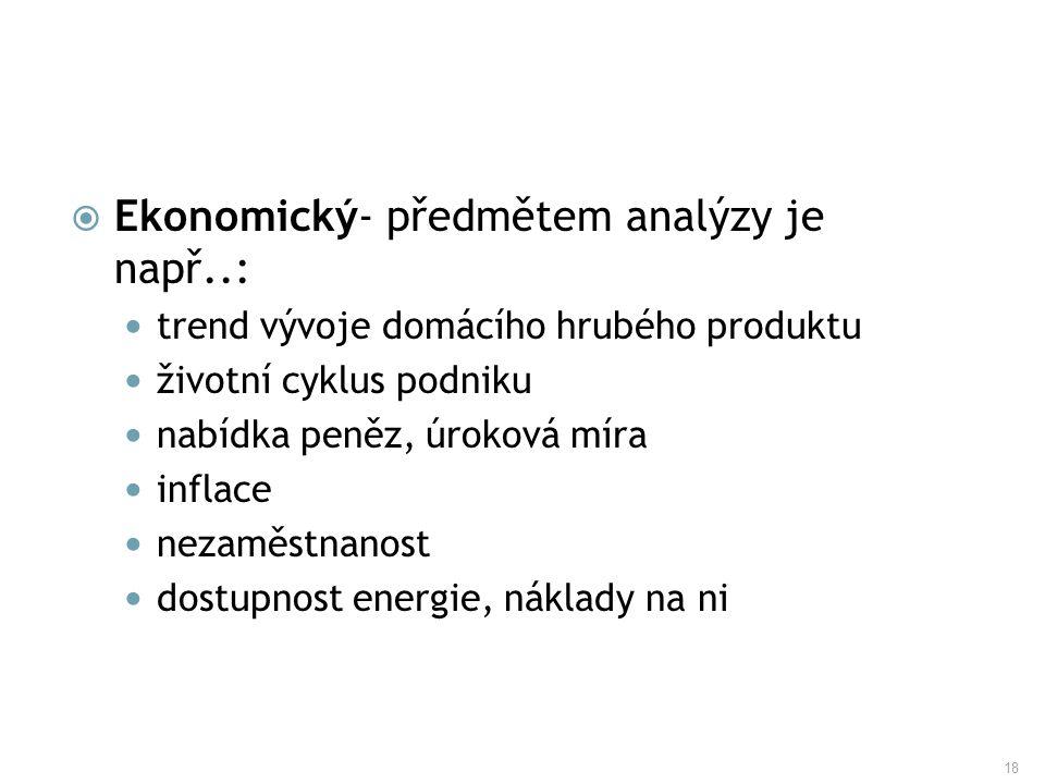 18  Ekonomický- předmětem analýzy je např..: trend vývoje domácího hrubého produktu životní cyklus podniku nabídka peněz, úroková míra inflace nezamě
