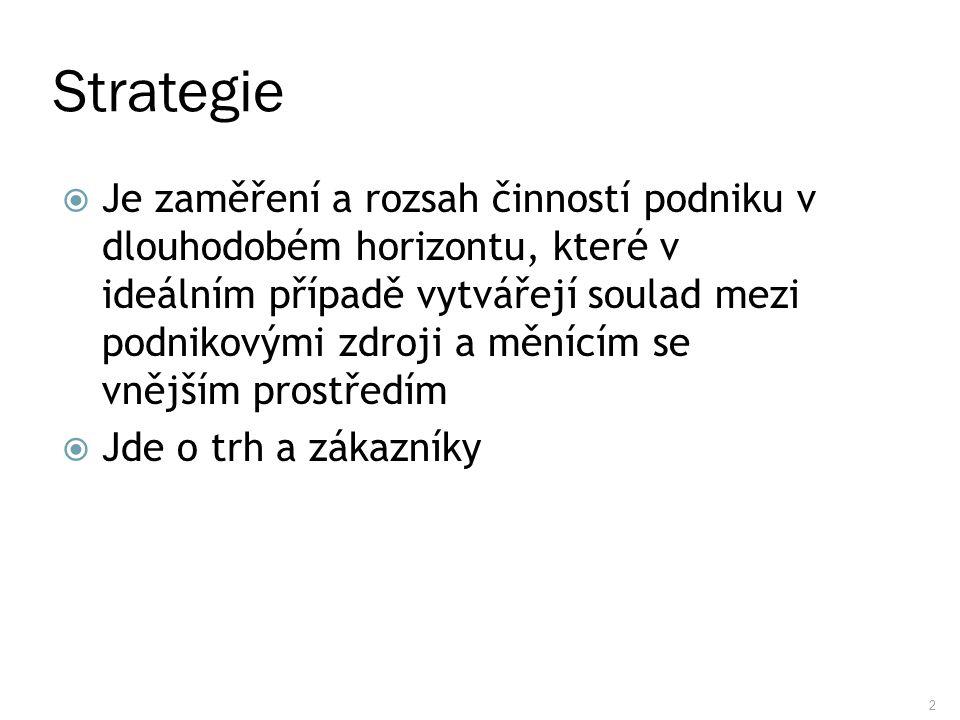 2 Strategie  Je zaměření a rozsah činností podniku v dlouhodobém horizontu, které v ideálním případě vytvářejí soulad mezi podnikovými zdroji a měníc