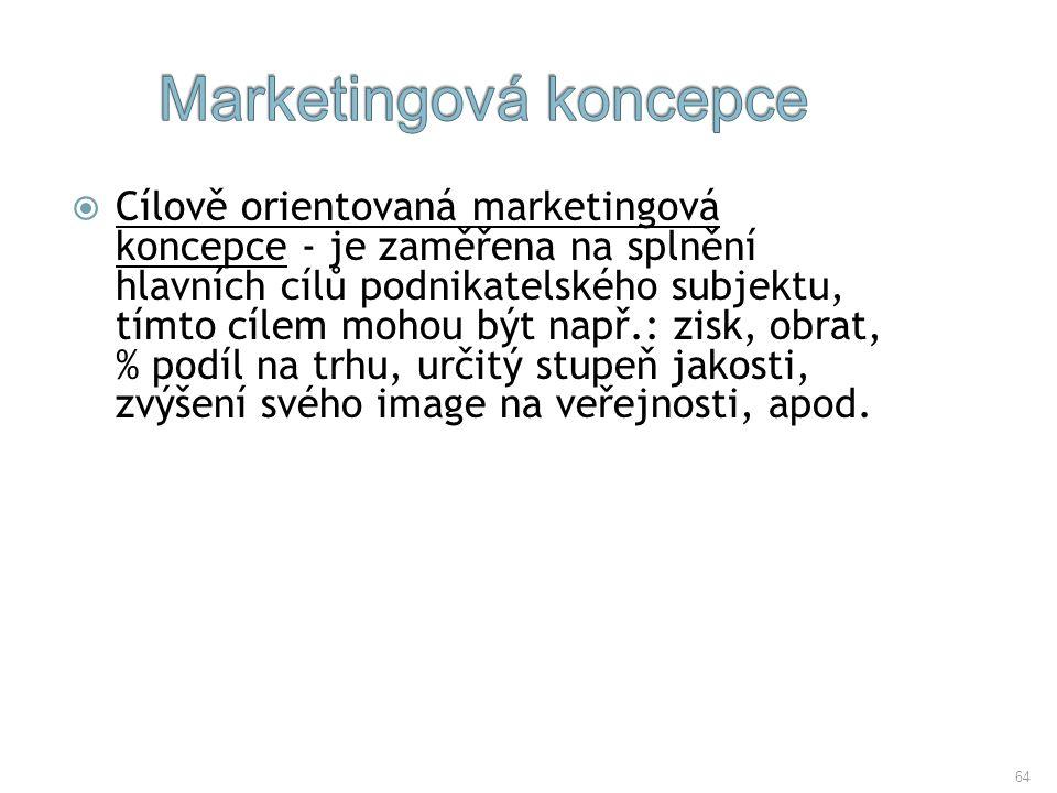 64  Cílově orientovaná marketingová koncepce - je zaměřena na splnění hlavních cílů podnikatelského subjektu, tímto cílem mohou být např.: zisk, obra