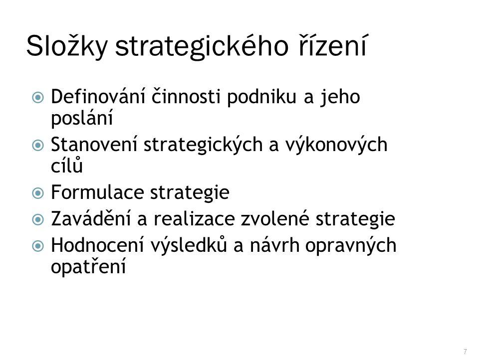 7 Složky strategického řízení  Definování činnosti podniku a jeho poslání  Stanovení strategických a výkonových cílů  Formulace strategie  Zaváděn