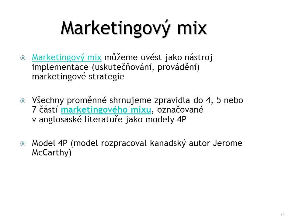 74 Marketingový mix  Marketingový mix můžeme uvést jako nástroj implementace (uskutečňování, provádění) marketingové strategie Marketingový mix  Vše