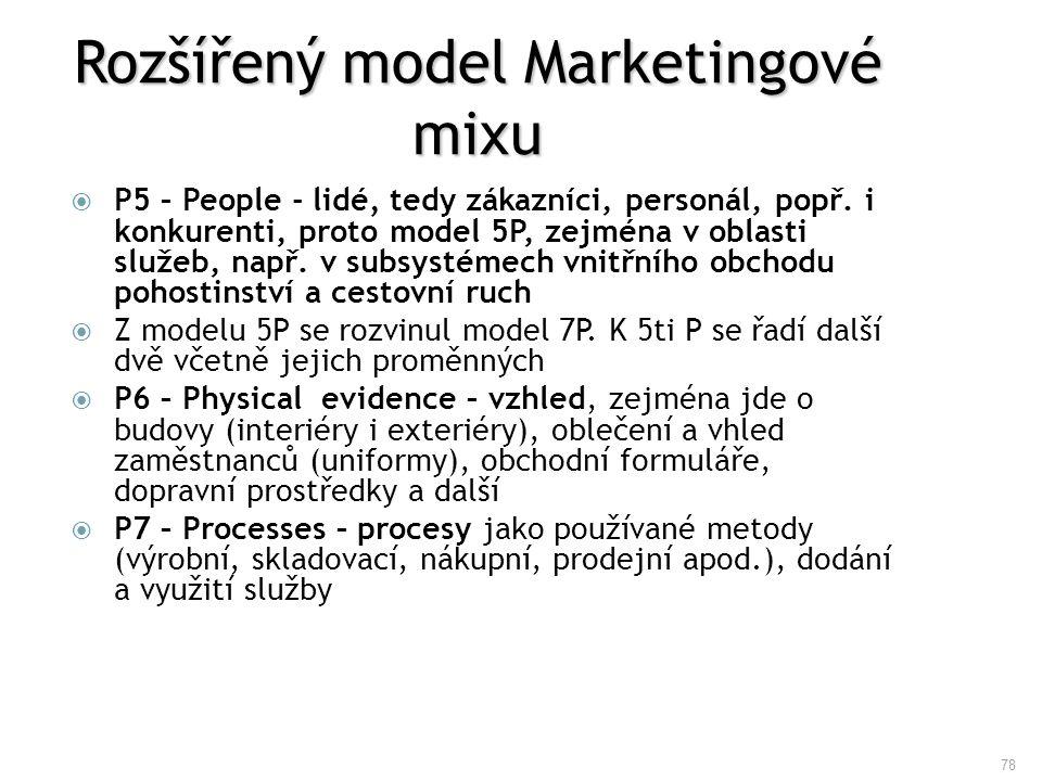 78 Rozšířený model Marketingové mixu  P5 – People - lidé, tedy zákazníci, personál, popř. i konkurenti, proto model 5P, zejména v oblasti služeb, nap
