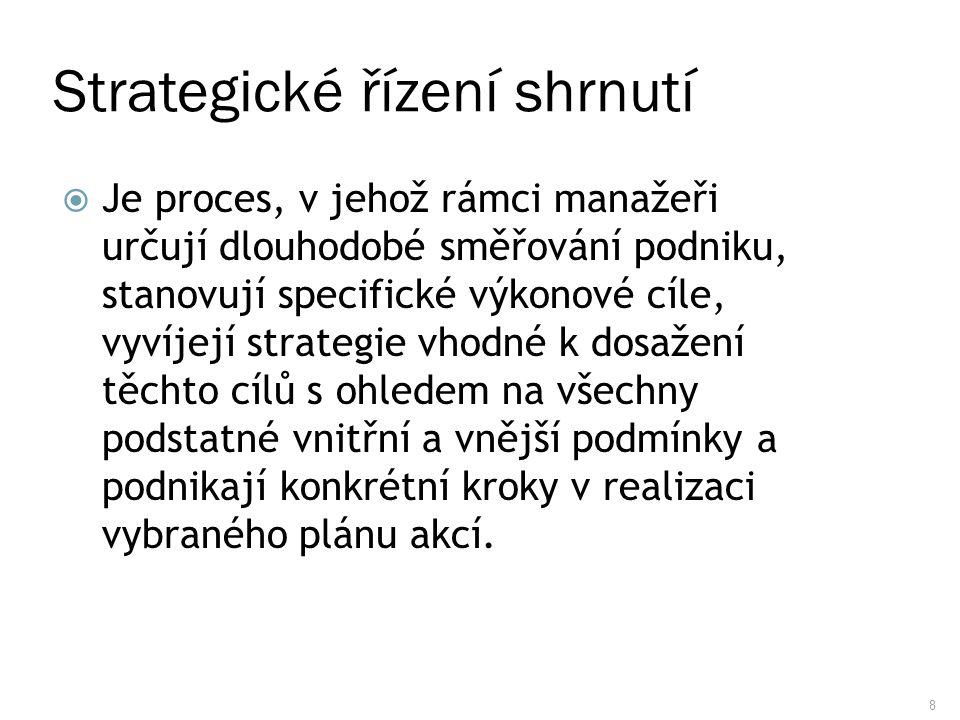 8 Strategické řízení shrnutí  Je proces, v jehož rámci manažeři určují dlouhodobé směřování podniku, stanovují specifické výkonové cíle, vyvíjejí str