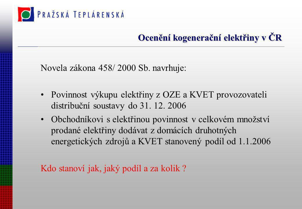 Ocenění kogenerační elektřiny v ČR Novela zákona 458/ 2000 Sb. navrhuje: Povinnost výkupu elektřiny z OZE a KVET provozovateli distribuční soustavy do