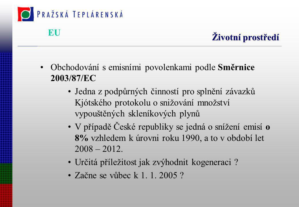 Životní prostředí Obchodování s emisními povolenkami podle Směrnice 2003/87/EC Jedna z podpůrných činností pro splnění závazků Kjótského protokolu o snižování množství vypouštěných skleníkových plynů V případě České republiky se jedná o snížení emisí o 8% vzhledem k úrovni roku 1990, a to v období let 2008 – 2012.
