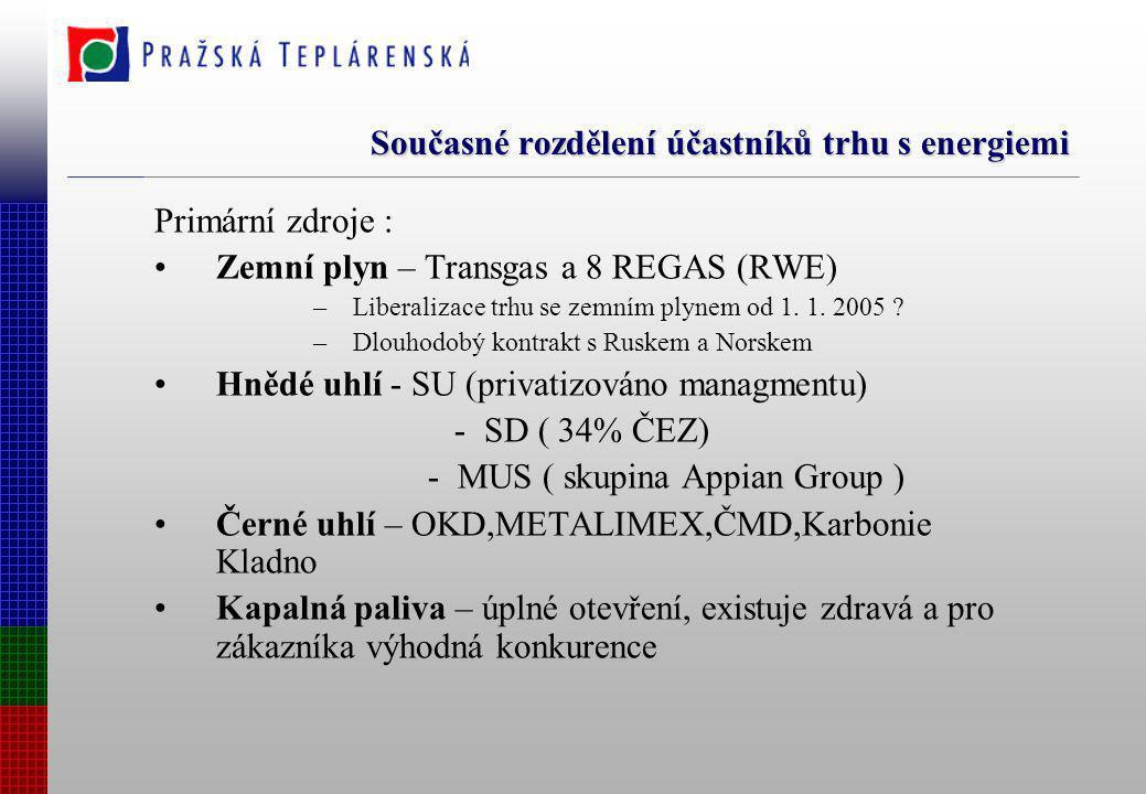 Současné rozdělení účastníků trhu s energiemi Primární zdroje : Zemní plyn – Transgas a 8 REGAS (RWE) –Liberalizace trhu se zemním plynem od 1. 1. 200