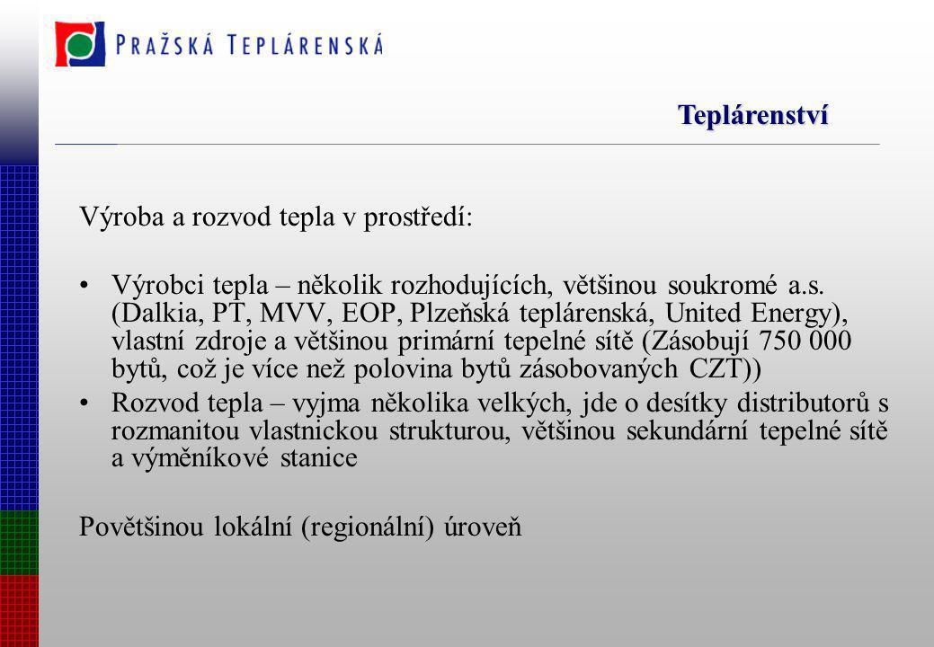 Výroba a rozvod tepla v prostředí: Výrobci tepla – několik rozhodujících, většinou soukromé a.s. (Dalkia, PT, MVV, EOP, Plzeňská teplárenská, United E