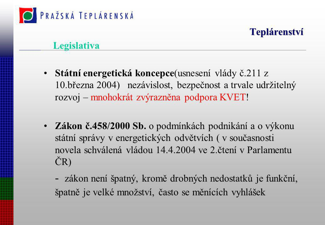 Teplárenství Státní energetická koncepce(usnesení vlády č.211 z 10.března 2004) nezávislost, bezpečnost a trvale udržitelný rozvoj – mnohokrát zvýrazněna podpora KVET.