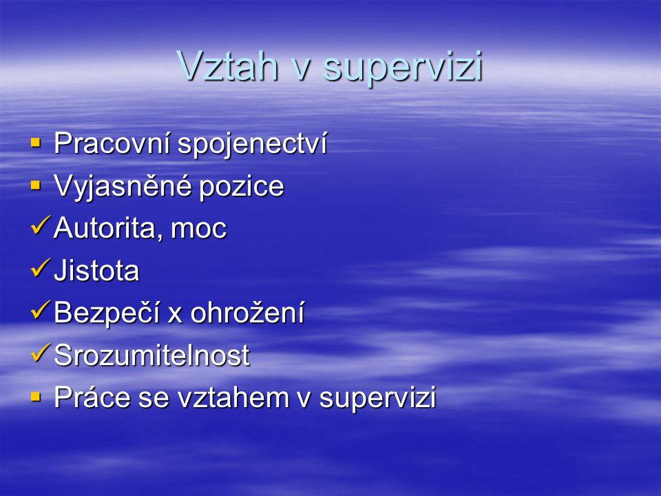 Vztah v supervizi  Pracovní spojenectví  Vyjasněné pozice Autorita, moc Autorita, moc Jistota Jistota Bezpečí x ohrožení Bezpečí x ohrožení Srozumitelnost Srozumitelnost  Práce se vztahem v supervizi