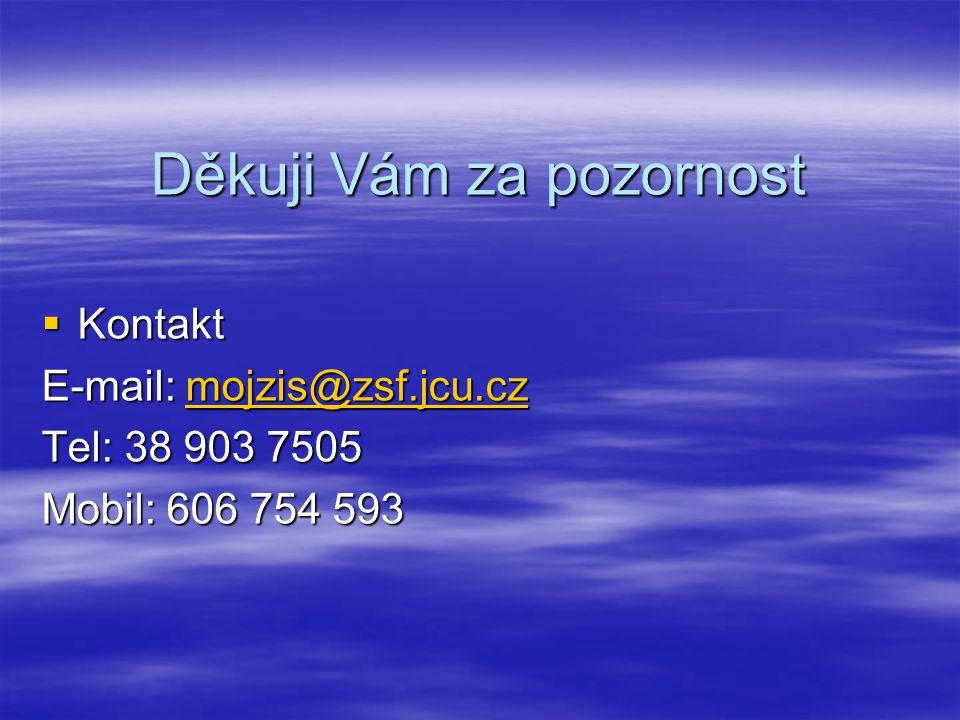 Děkuji Vám za pozornost  Kontakt E-mail: mojzis@zsf.jcu.cz mojzis@zsf.jcu.cz Tel: 38 903 7505 Mobil: 606 754 593