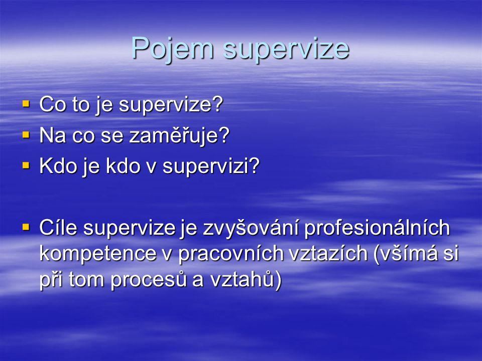 Funkce supervize  Funkce podpůrná a.Cílem je dobré zvládání pracovních nároků b.Projevuje se spolunesením pracovní zátěže, sdílením