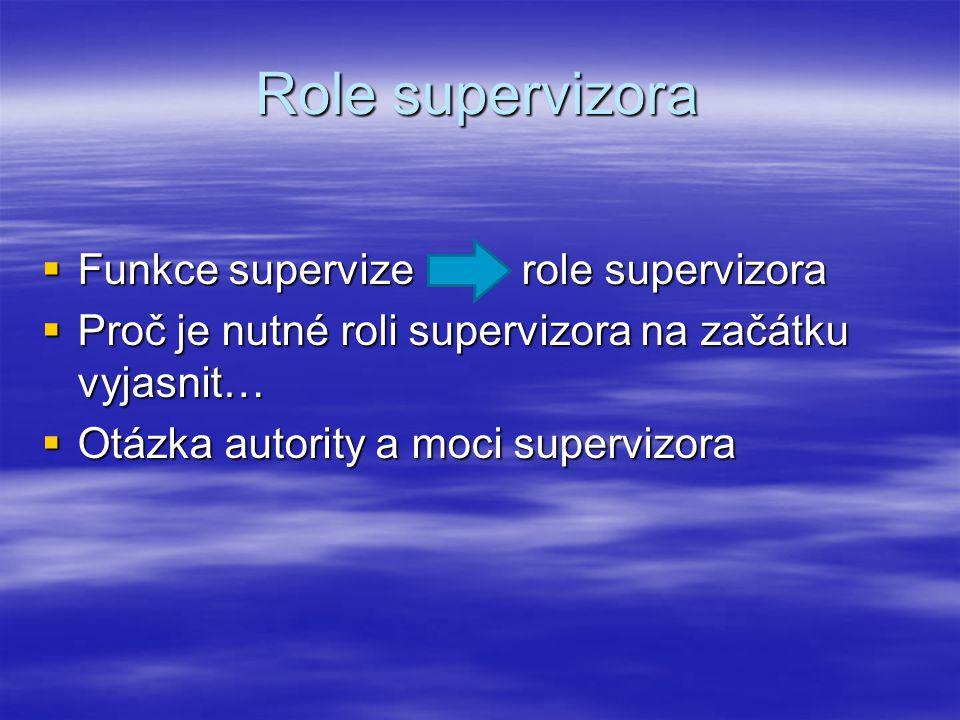 Role supervizora  Funkce supervize role supervizora  Proč je nutné roli supervizora na začátku vyjasnit…  Otázka autority a moci supervizora