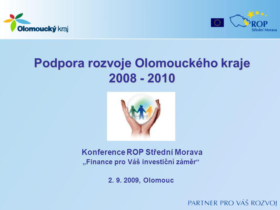 """Podpora rozvoje Olomouckého kraje 2008 - 2010 Konference ROP Střední Morava """"Finance pro Váš investiční záměr 2."""