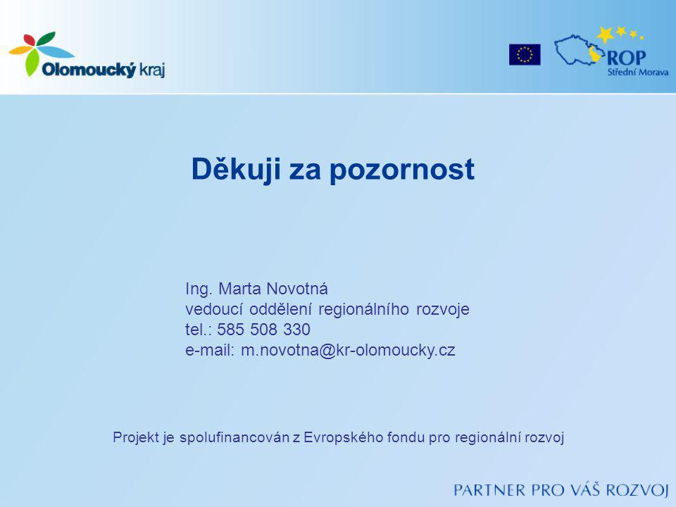 Děkuji za pozornost Projekt je spolufinancován z Evropského fondu pro regionální rozvoj Ing.