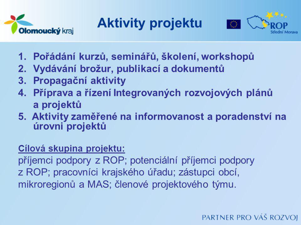 Aktivity projektu 1.Pořádání kurzů, seminářů, školení, workshopů 2.Vydávání brožur, publikací a dokumentů 3.Propagační aktivity 4.Příprava a řízení Integrovaných rozvojových plánů a projektů 5.