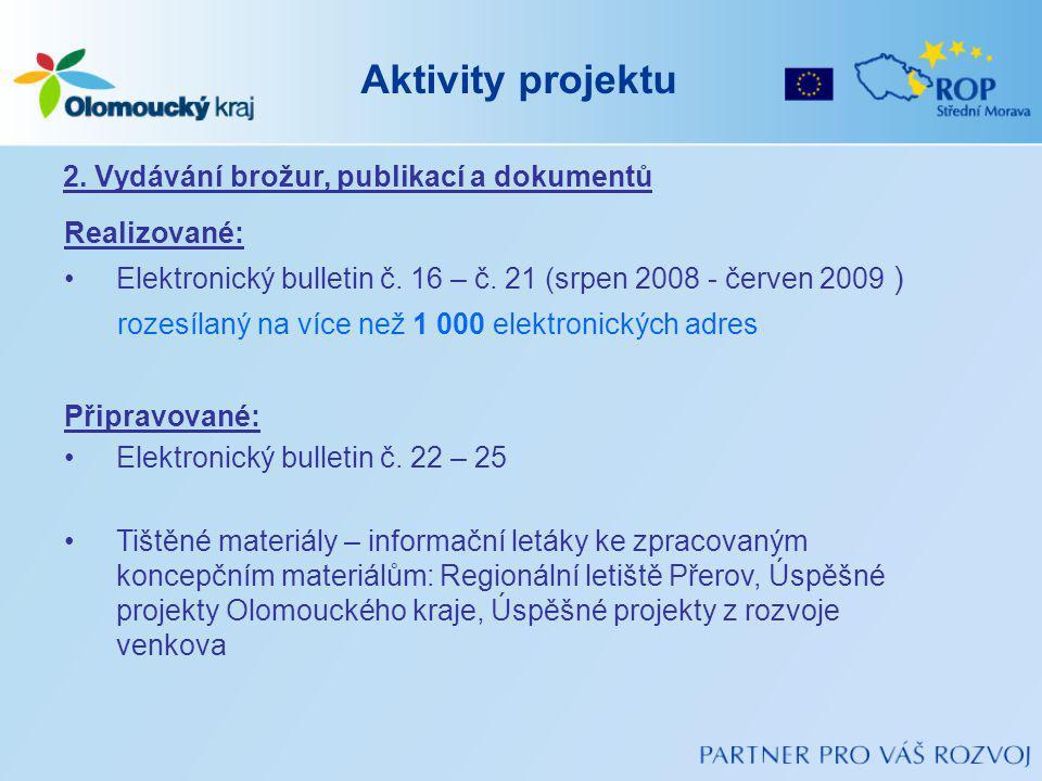 Aktivity projektu 2. Vydávání brožur, publikací a dokumentů Realizované: Elektronický bulletin č.
