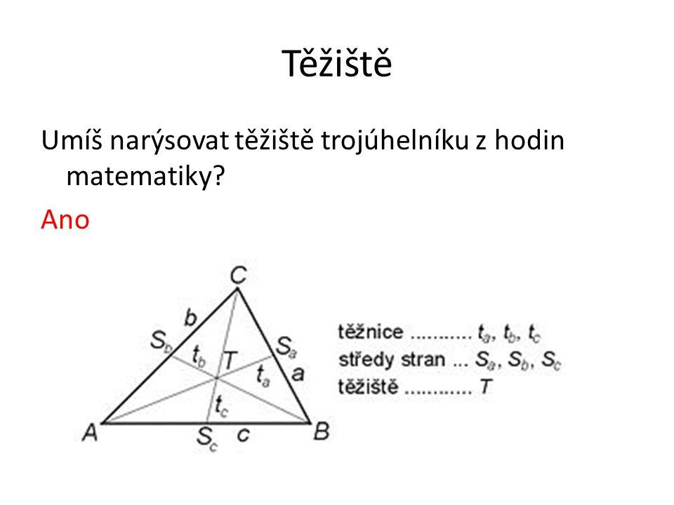 Těžiště Umíš narýsovat těžiště trojúhelníku z hodin matematiky? Ano
