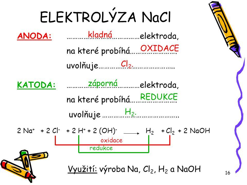 16 KATODA: …………………………………elektroda, na které probíhá……………………. uvolňuje ………………………………….. ANODA: …………………………………elektroda, na které probíhá……………………. uvolňuj