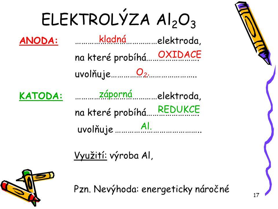 17 KATODA: …………………………………elektroda, na které probíhá……………………. uvolňuje ………………………………….. ANODA: …………………………………elektroda, na které probíhá……………………. uvolňuj