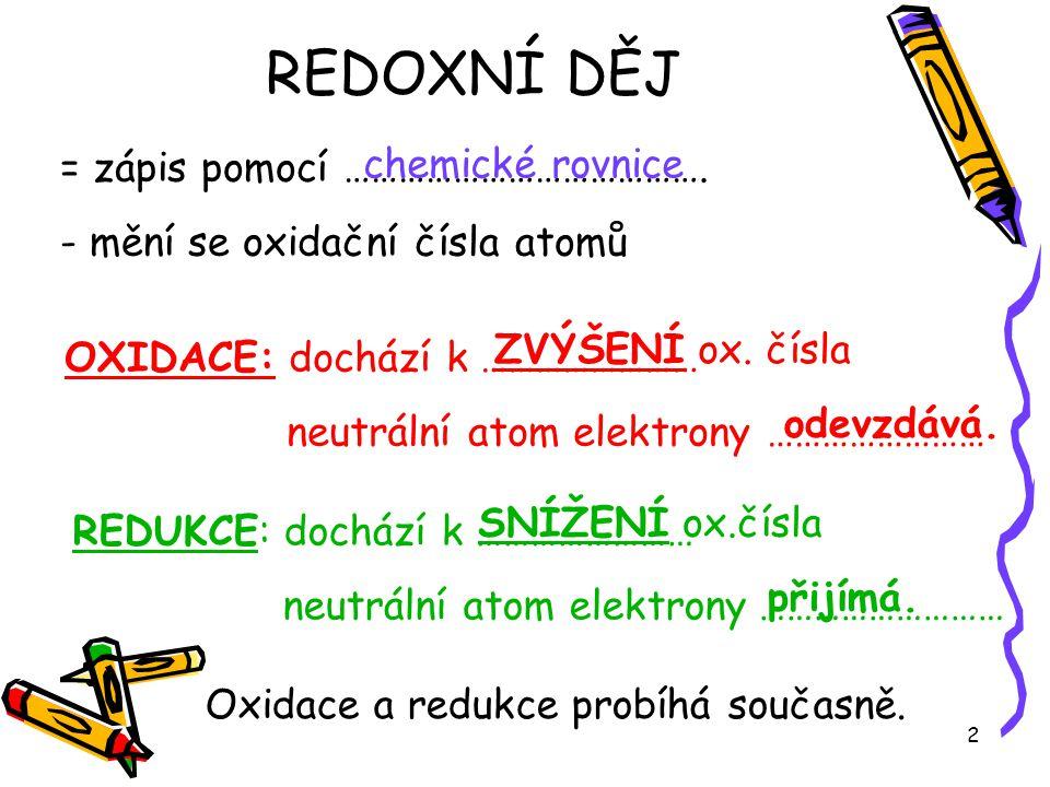 2 = zápis pomocí …………………………………. - mění se oxidační čísla atomů chemické rovnice OXIDACE: dochází k …………………… neutrální atom elektrony …………………… REDUKCE: