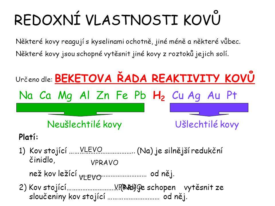 REDOXNÍ VLASTNOSTI KOVŮ Některé kovy reagují s kyselinami ochotně, jiné méně a některé vůbec.