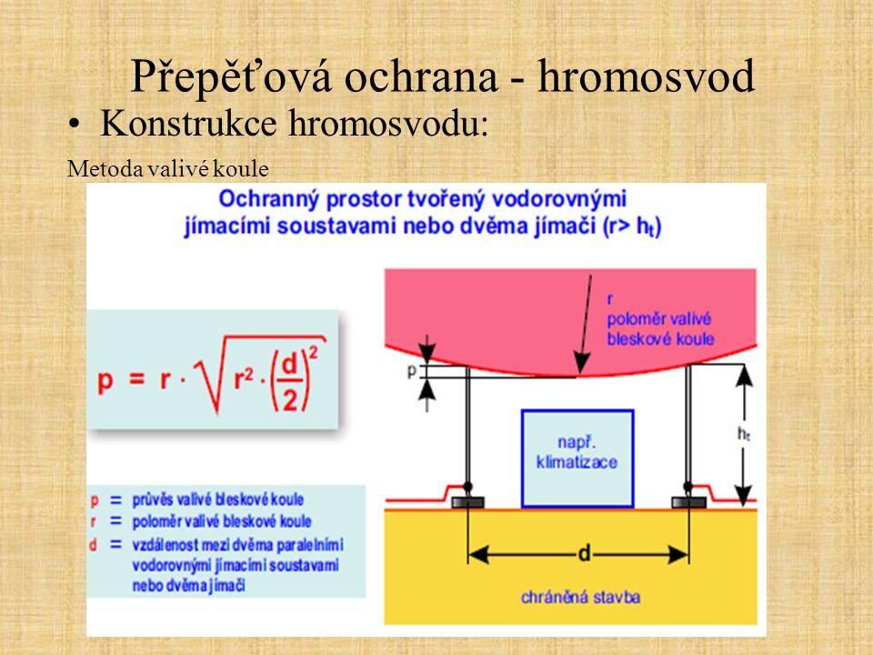 Přepěťová ochrana - hromosvod Konstrukce hromosvodu: Metoda valivé koule