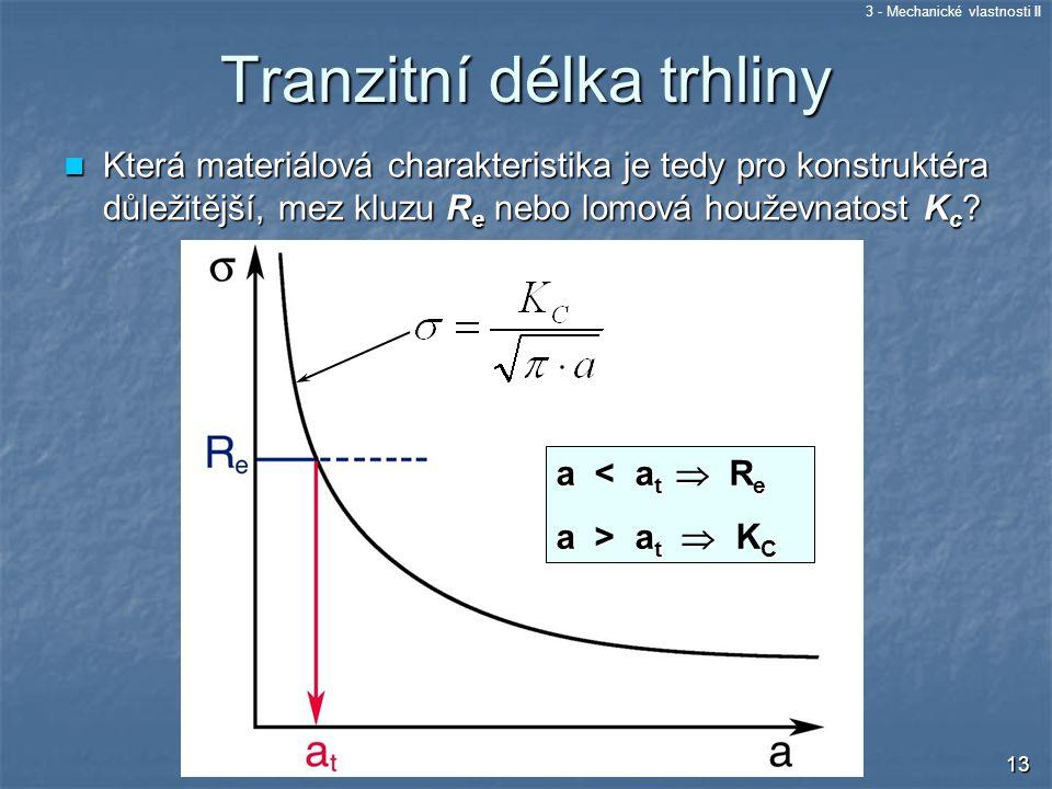 3 - Mechanické vlastnosti II 13 Tranzitní délka trhliny Která materiálová charakteristika je tedy pro konstruktéra důležitější, mez kluzu R e nebo lom