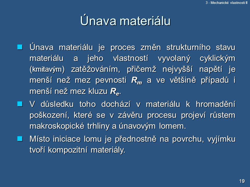 3 - Mechanické vlastnosti II 19 Únava materiálu Únava materiálu je proces změn strukturního stavu materiálu a jeho vlastností vyvolaný cyklickým ( kmi