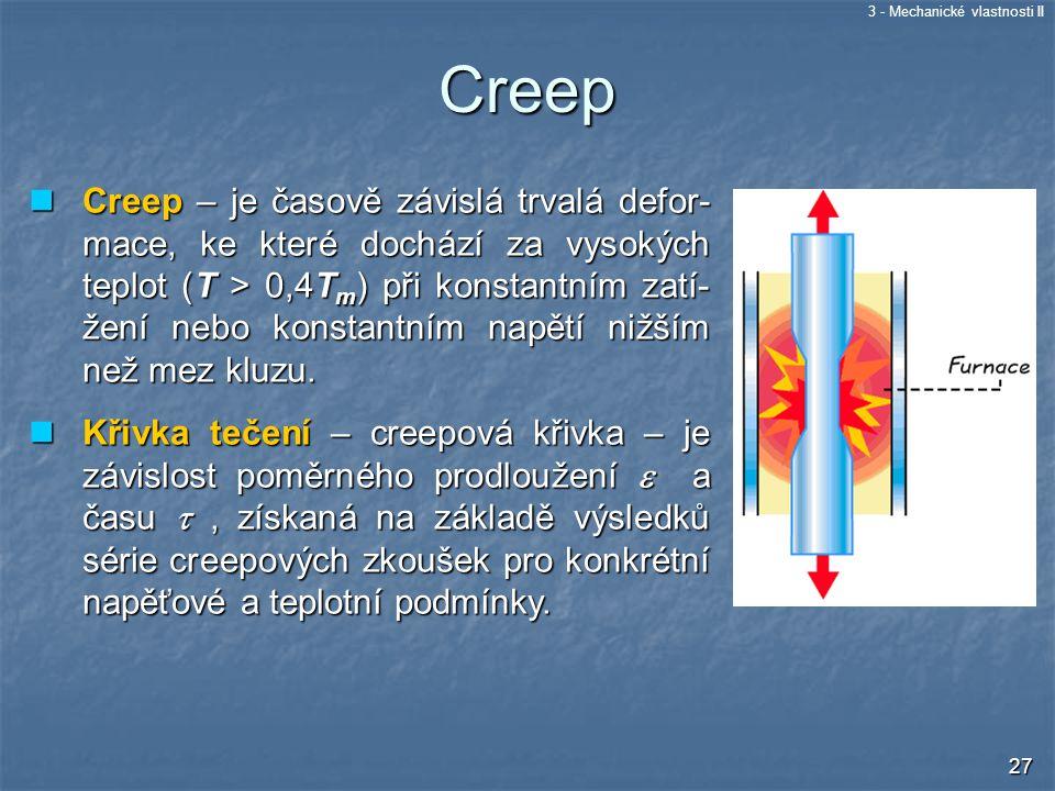 3 - Mechanické vlastnosti II 27 Creep – je časově závislá trvalá defor- mace, ke které dochází za vysokých teplot (T > 0,4T m ) při konstantním zatí-