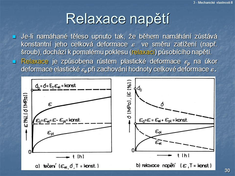3 - Mechanické vlastnosti II 30 Relaxace napětí Je-li namáhané těleso upnuto tak, že během namáhání zůstává konstantní jeho celková deformace  ve smě