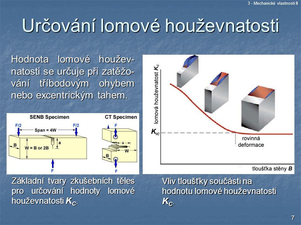 3 - Mechanické vlastnosti II 18 Ukázka transkrystalického štěpného lomu Ukázka interkrystalického štěpného lomu Štěpný lom