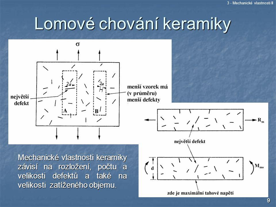 3 - Mechanické vlastnosti II 9 Mechanické vlastnosti keramiky závisí na rozložení, počtu a velikosti defektů a také na velikosti zatíženého objemu. Lo