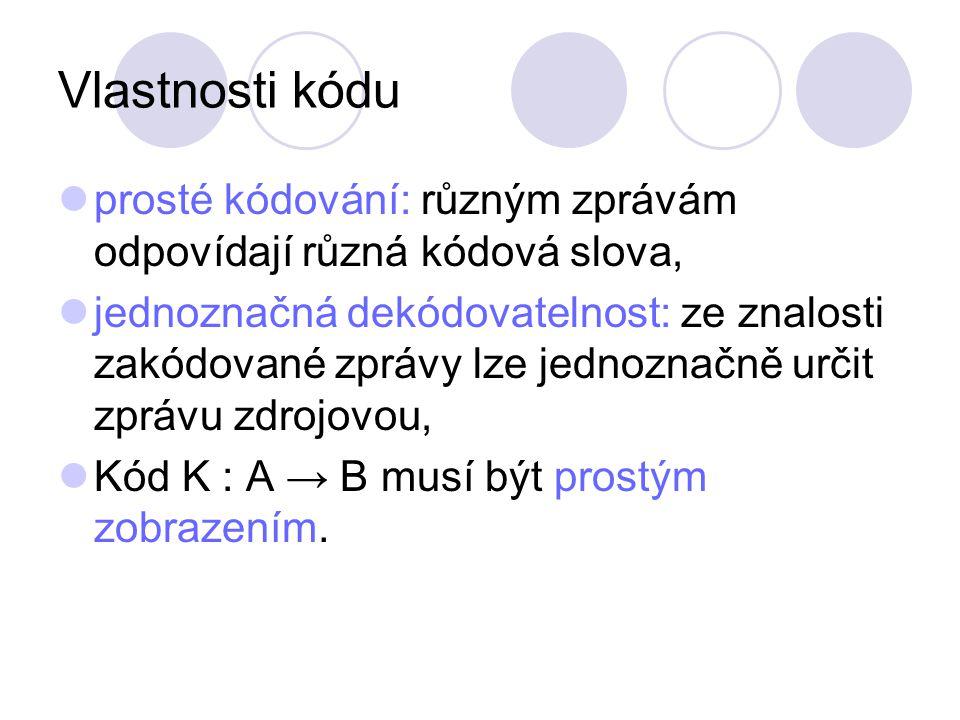 Problém dekódování Kód A001 Zpráva 001111 Posloupnost zpráv (kódových slov): 00100101111 nelze jednoznačně dekódovat Kód B001011111 Posloupnost zpráv (kódových slov): 00101101111 lze jednoznačně dekódovat.