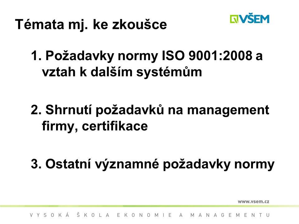 Témata mj.ke zkoušce 1. Požadavky normy ISO 9001:2008 a vztah k dalším systémům 2.