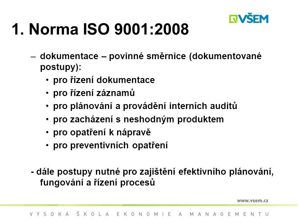 1. Norma ISO 9001:2008 –dokumentace – povinné směrnice (dokumentované postupy): pro řízení dokumentace pro řízení záznamů pro plánování a provádění in